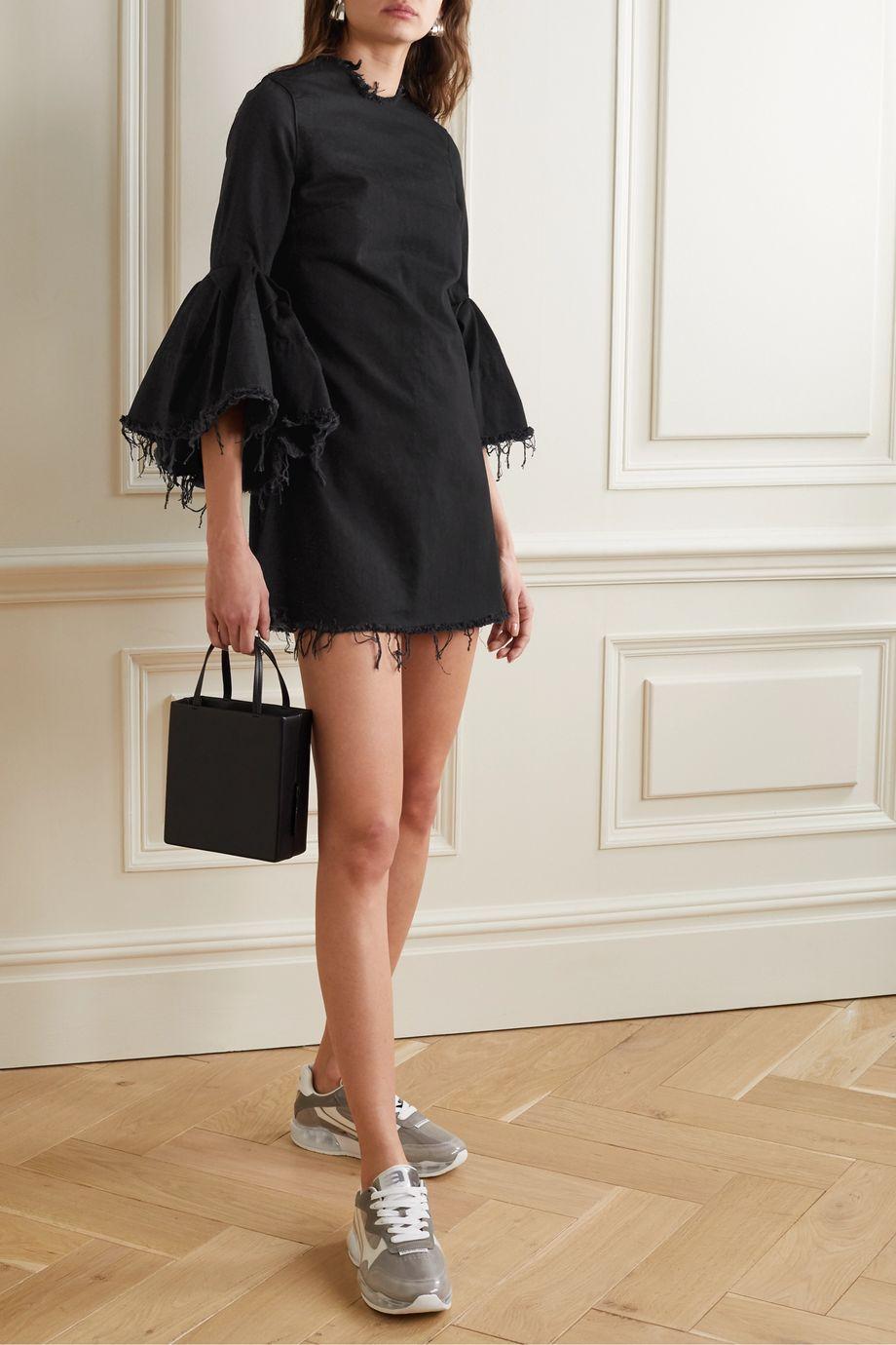 Marques' Almeida Ruffled frayed denim mini dress