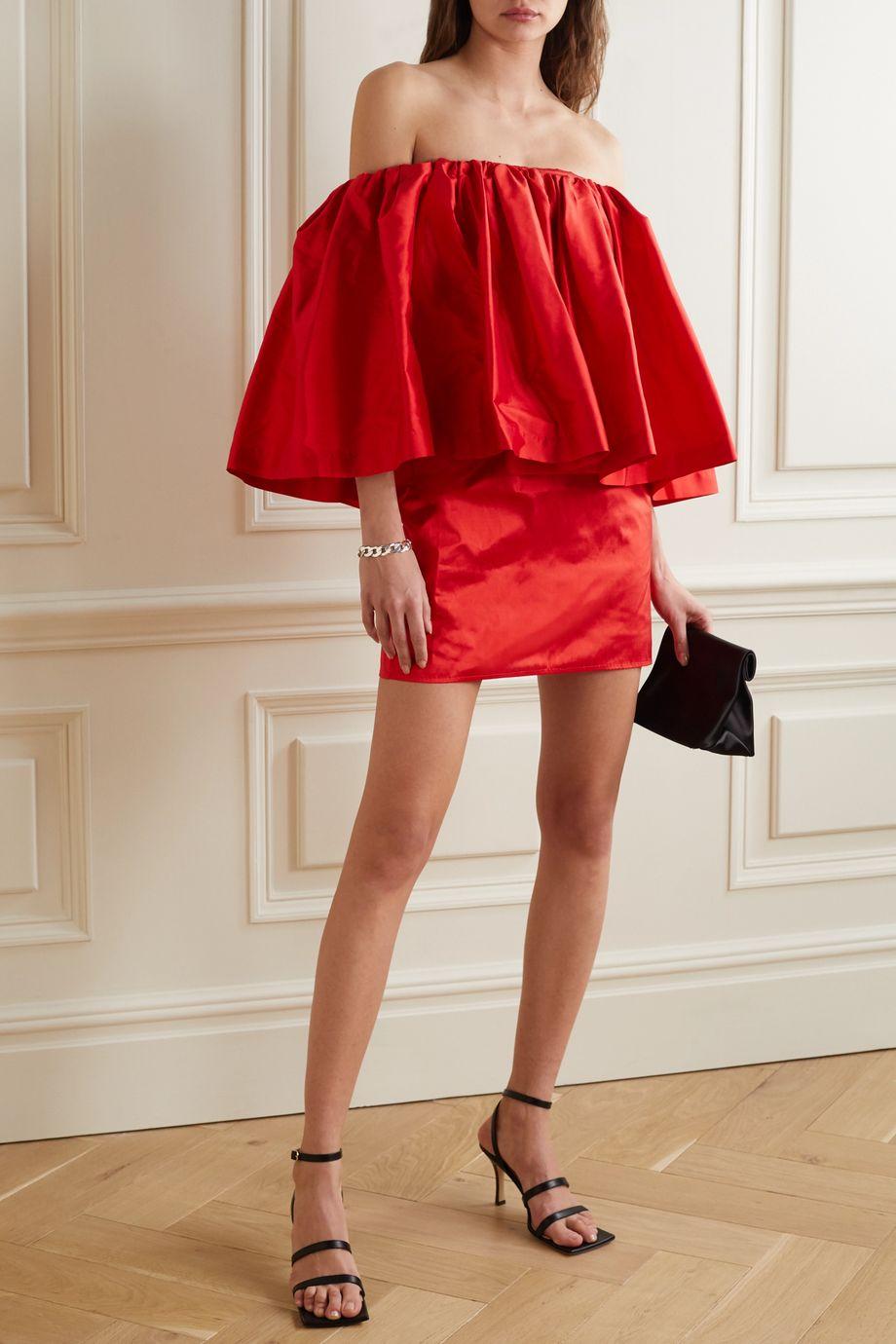 Marques' Almeida Off-the-shoulder ruffled silk-taffeta mini dress