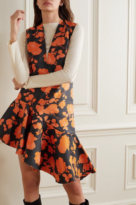 Asymmetric frayed brocade dress