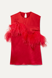 Marques' Almeida Feather-trimmed satin top