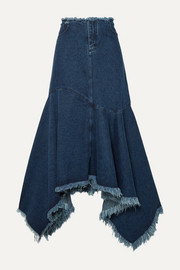 Marques' Almeida Asymmetric frayed denim skirt