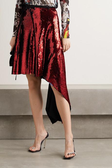 Asymmetric sequined crepe de chine wrap skirt