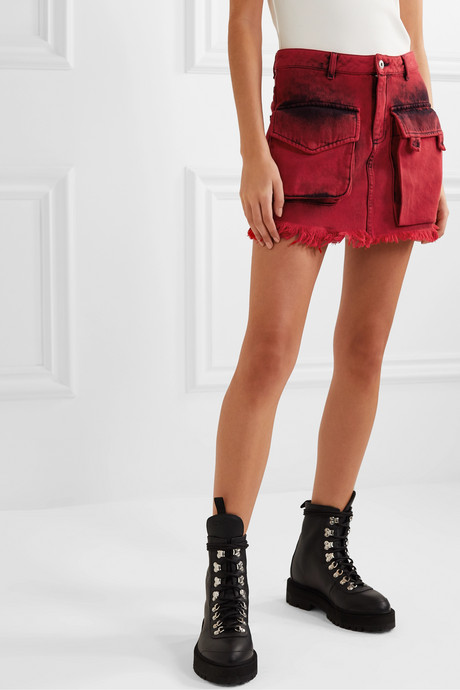 Frayed acid-wash denim mini skirt