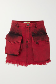 Frayed acid-wash denim mini skirt