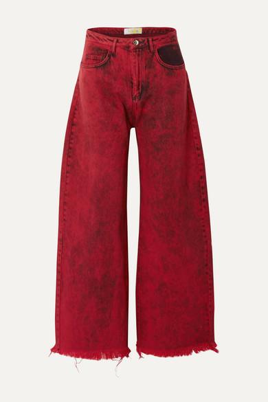 Marques' Almeida Jeans FRAYED ACID-WASH LOW-RISE BOYFRIEND JEANS