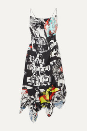Marques' Almeida Asymmetric printed satin midi dress