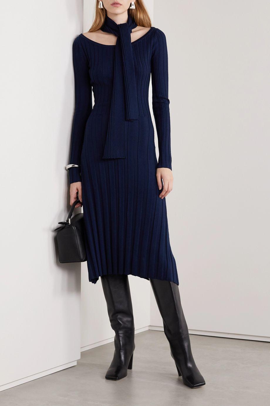 Rokh Paneled ribbed merino wool midi dress