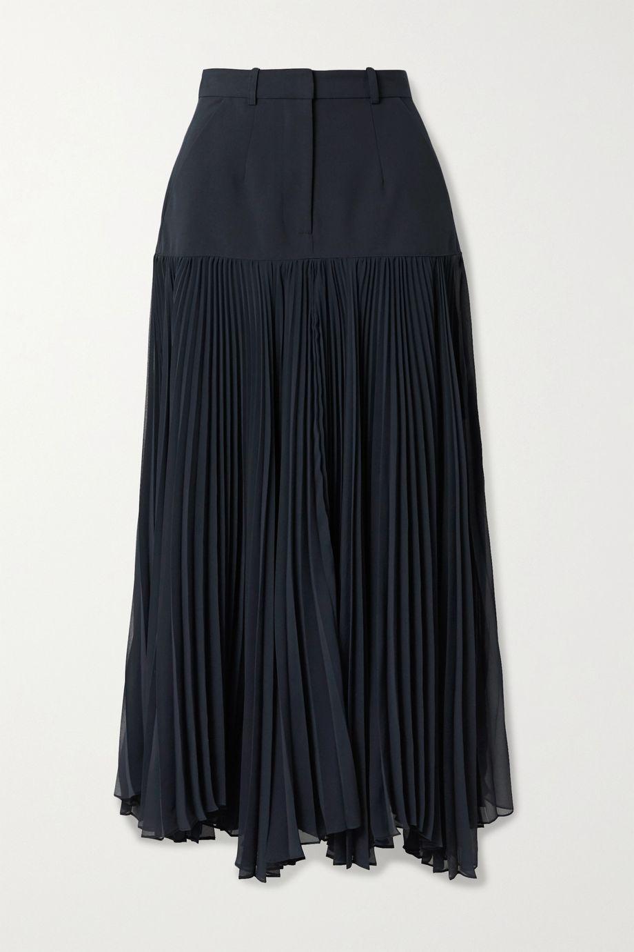 Rokh Paneled woven and pleated chiffon maxi skirt