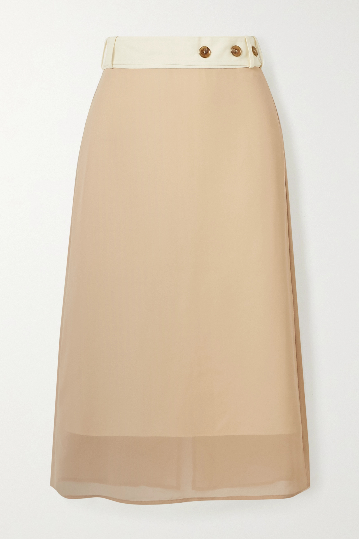 Rokh Belted layered canvas and chiffon midi skirt