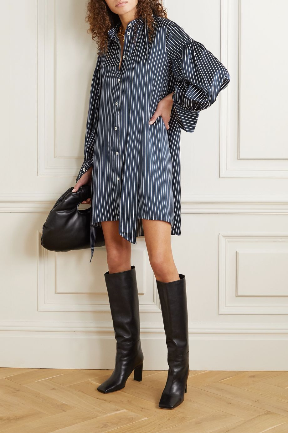 Rokh Oversized tie-detailed striped satin mini shirt dress