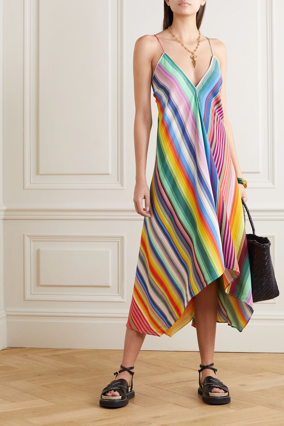 Etro Asymmetric striped crepe dress