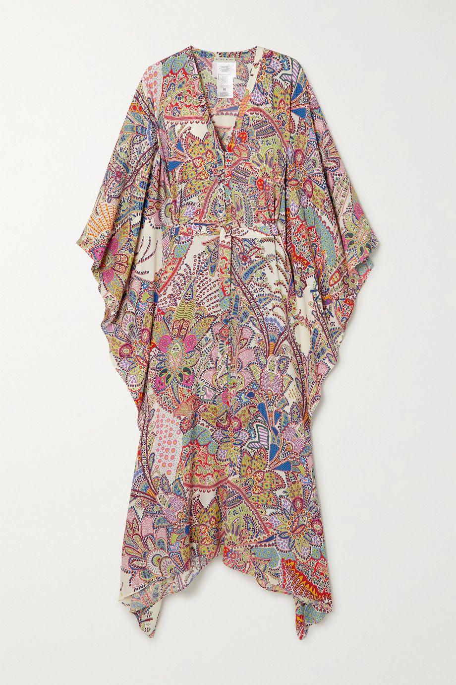 Etro 不对称配腰带佩斯利花纹绉纱长罩衫裙