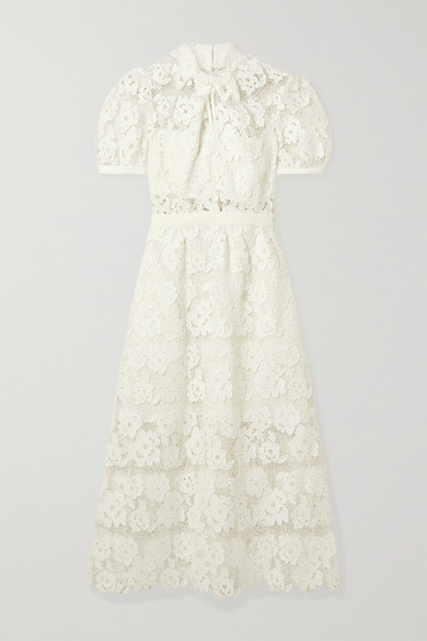 Self-Portrait - Grosgrain-trimmed Guipure Lace Midi Dress - White