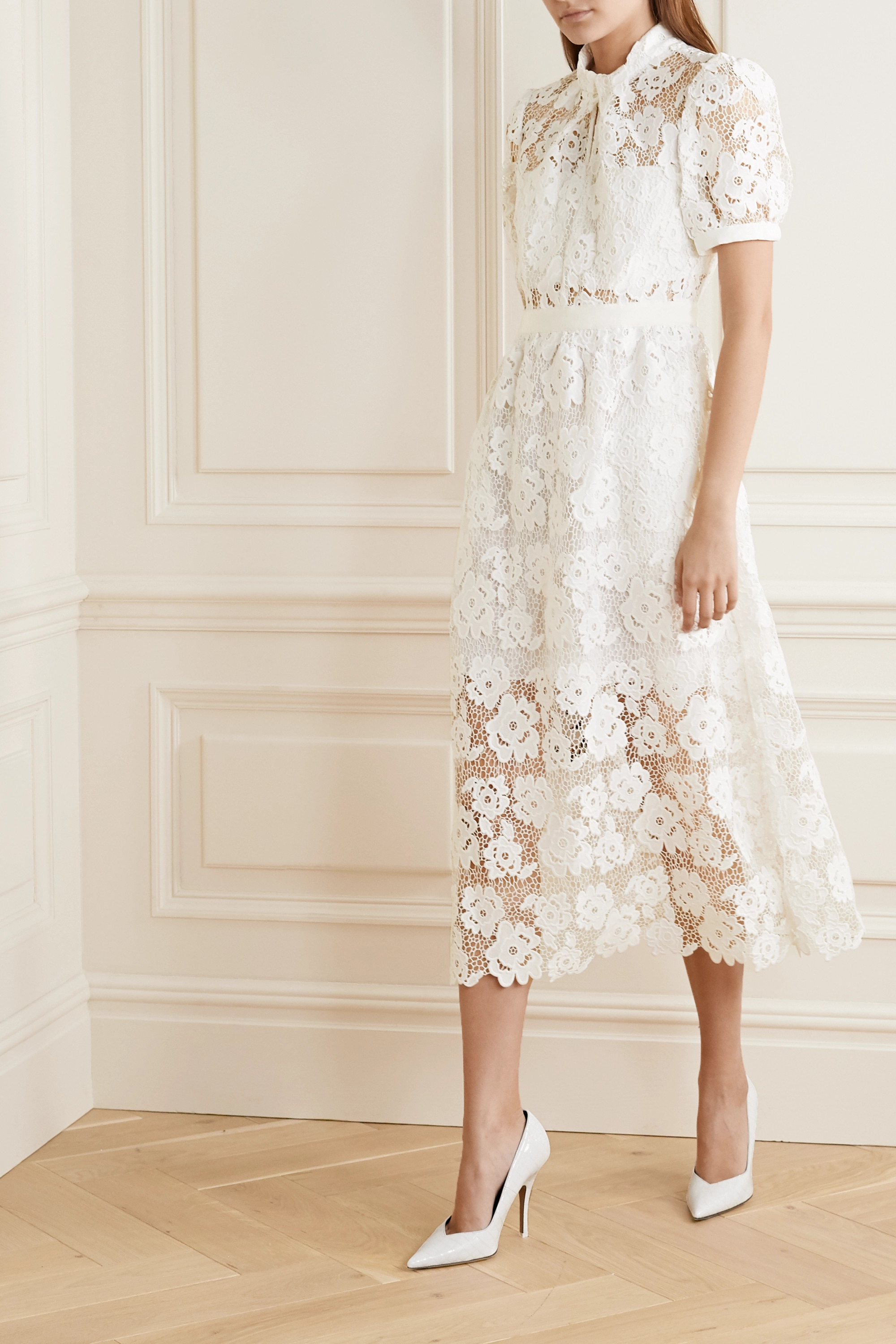 Self-Portrait Grosgrain-trimmed guipure lace midi dress