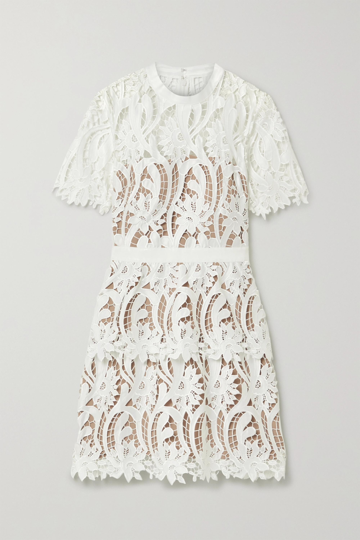 Self-Portrait Grosgrain-trimmed guipure lace mini dress