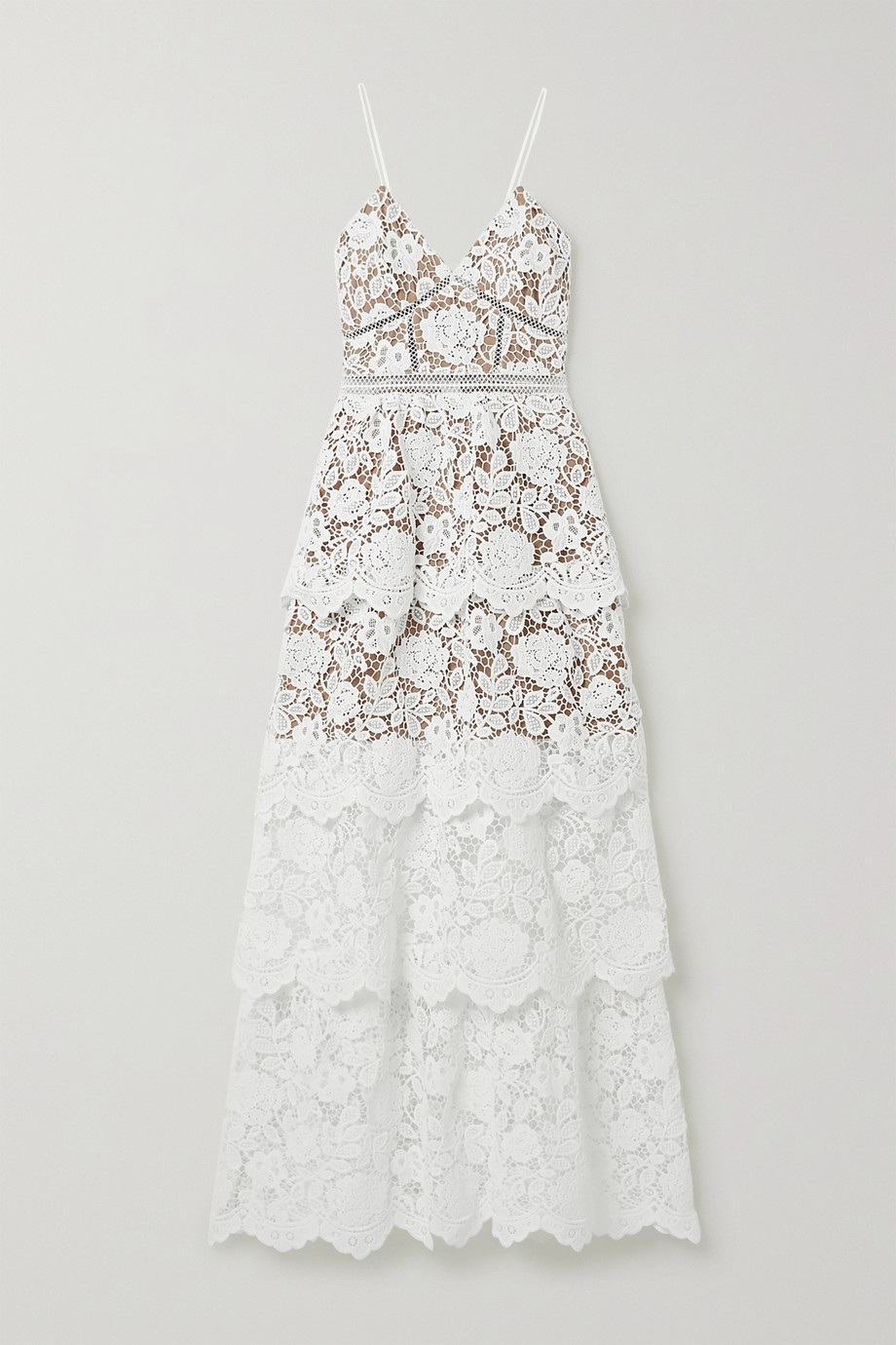 Self-Portrait Crochet-trimmed tiered corded lace gown