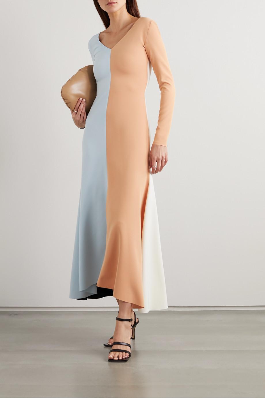 A.W.A.K.E. MODE Color-block crepe maxi dress