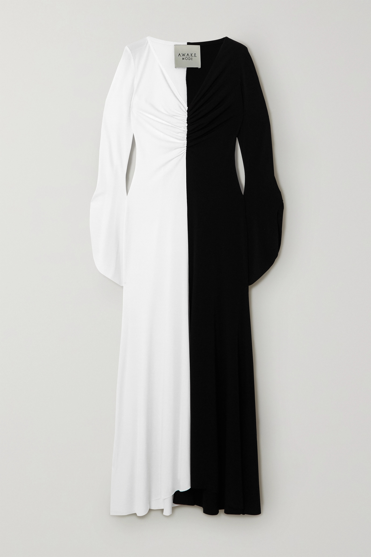A.W.A.K.E. MODE 双色褶饰绉纱超长连衣裙