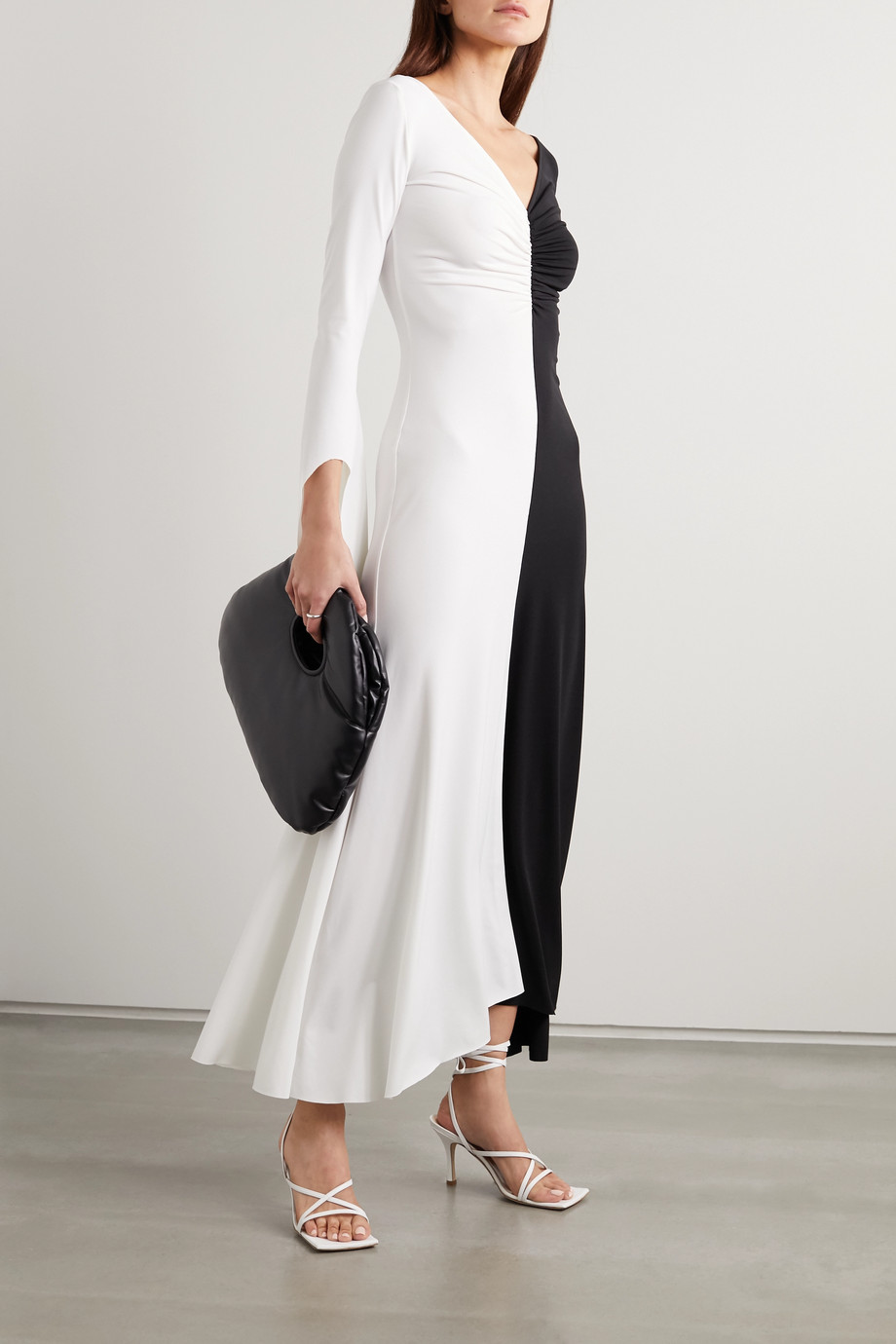 A.W.A.K.E. MODE Two-tone ruched crepe maxi dress
