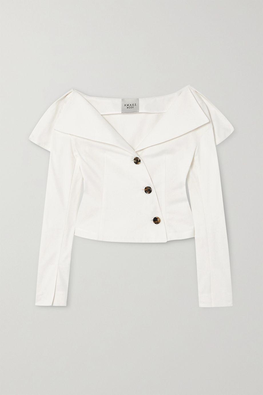 A.W.A.K.E. MODE Off-the-shoulder cotton-poplin blouse
