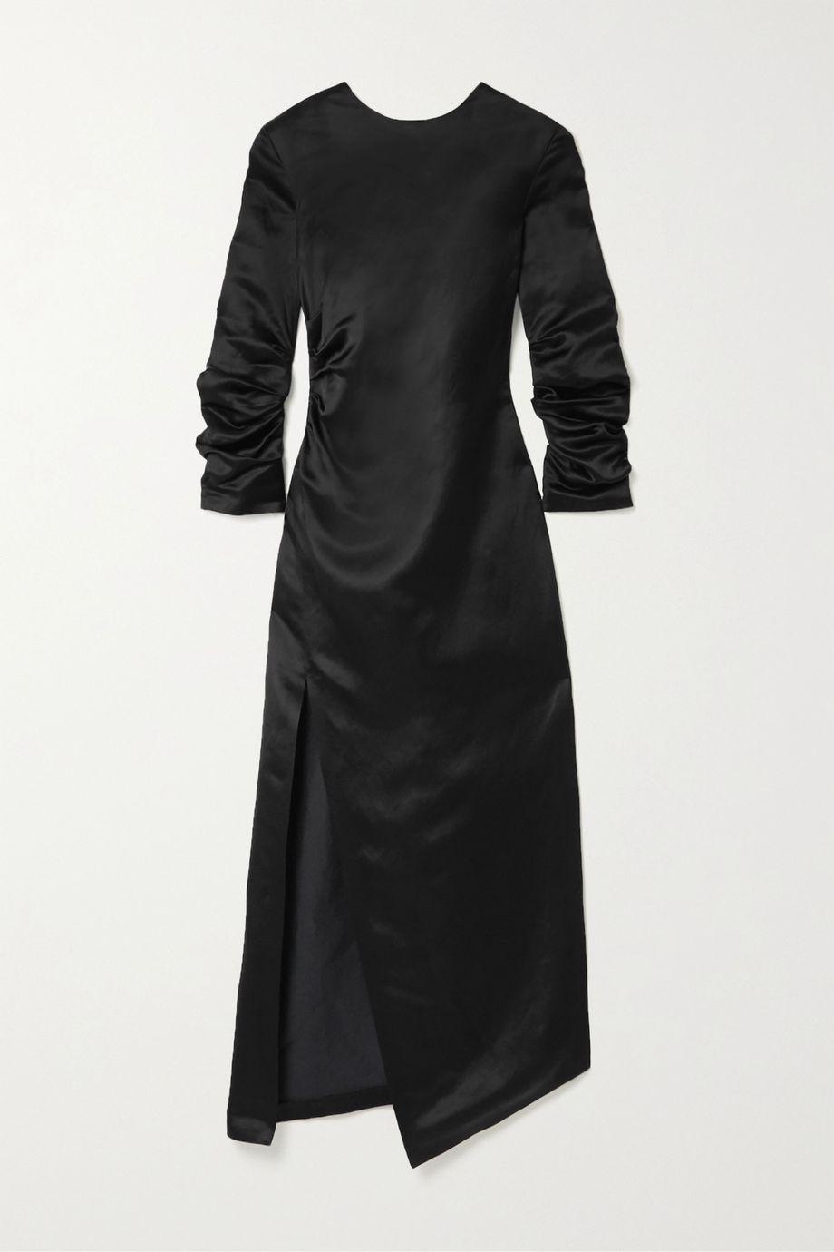 A.W.A.K.E. MODE Gathered cupro and linen-blend satin midi dress
