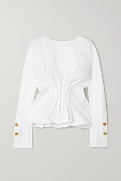 A.W.A.K.E. MODE - Gathered Cotton-blend Poplin Blouse - White