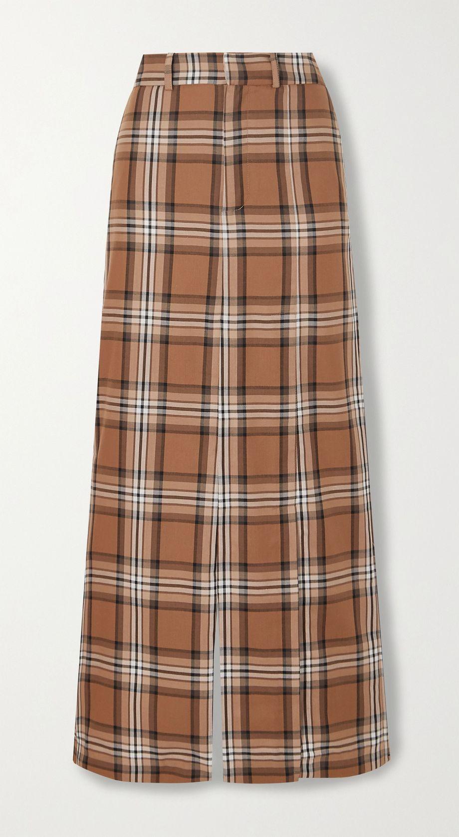 A.W.A.K.E. MODE Checked cotton-twill maxi skirt