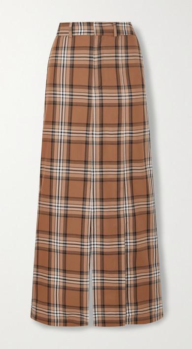 A.W.A.K.E. MODE - Checked Cotton-twill Maxi Skirt - Brown