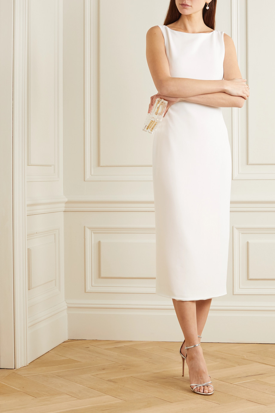 Brandon Maxwell Crepe midi dress