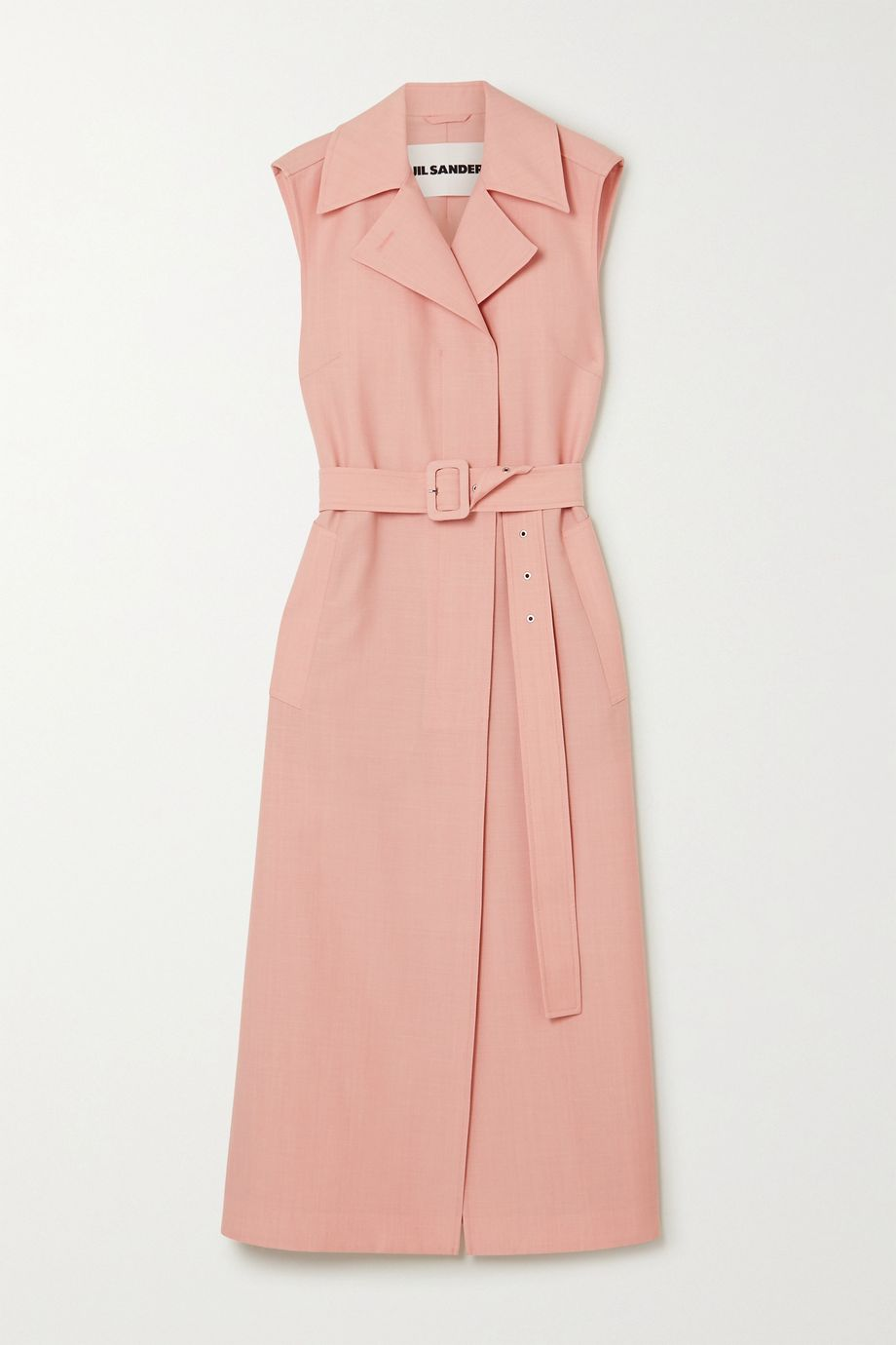 Jil Sander Belted wool and mohair-blend midi dress