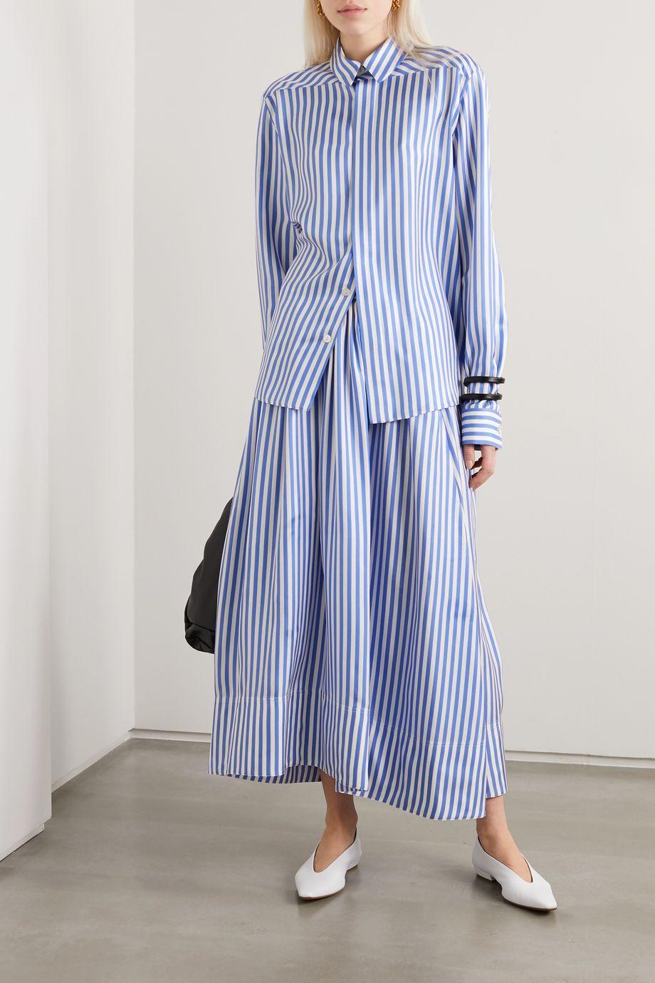 Jil Sander Pleated striped silk-satin midi skirt