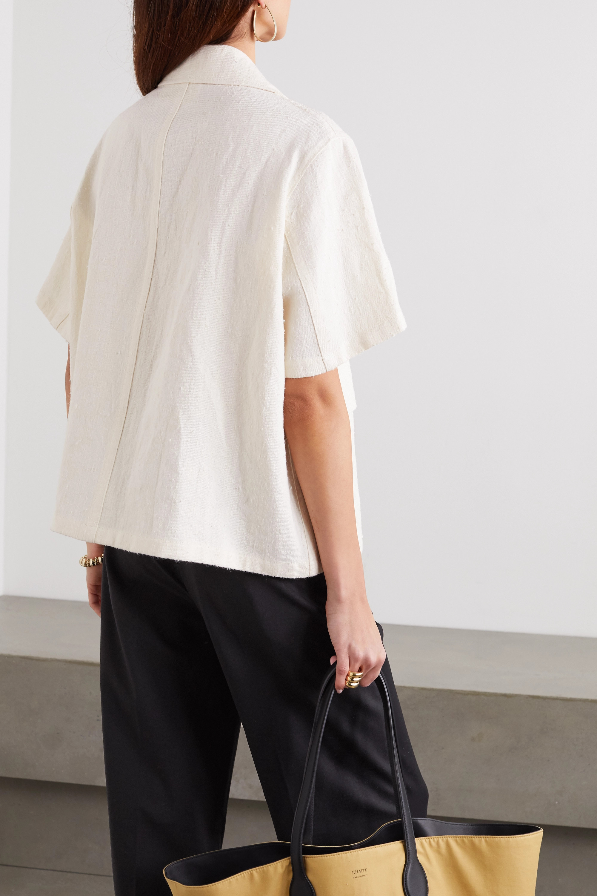 Jil Sander Silk, ramie and hemp-blend canvas shirt