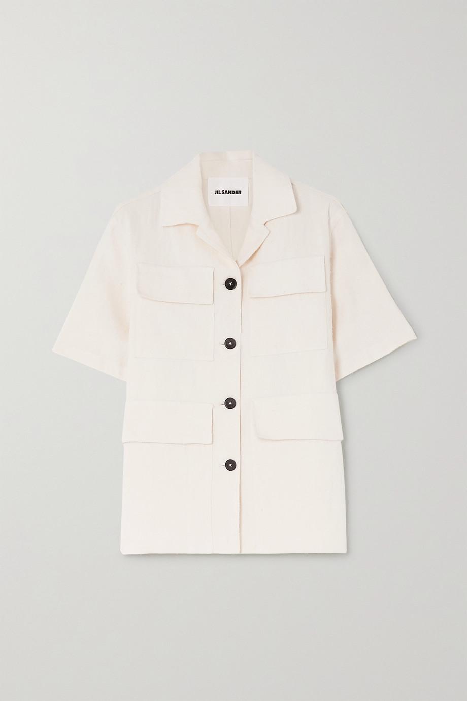 Jil Sander Silk, ramie and hemp-blend canvas shirt