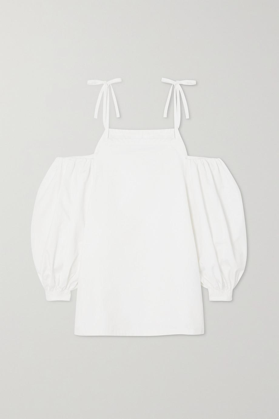 Jil Sander Cold-shoulder organic cotton-poplin blouse