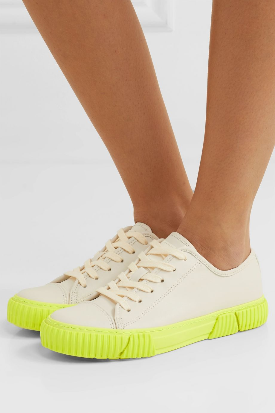 both Neon leather sneakers