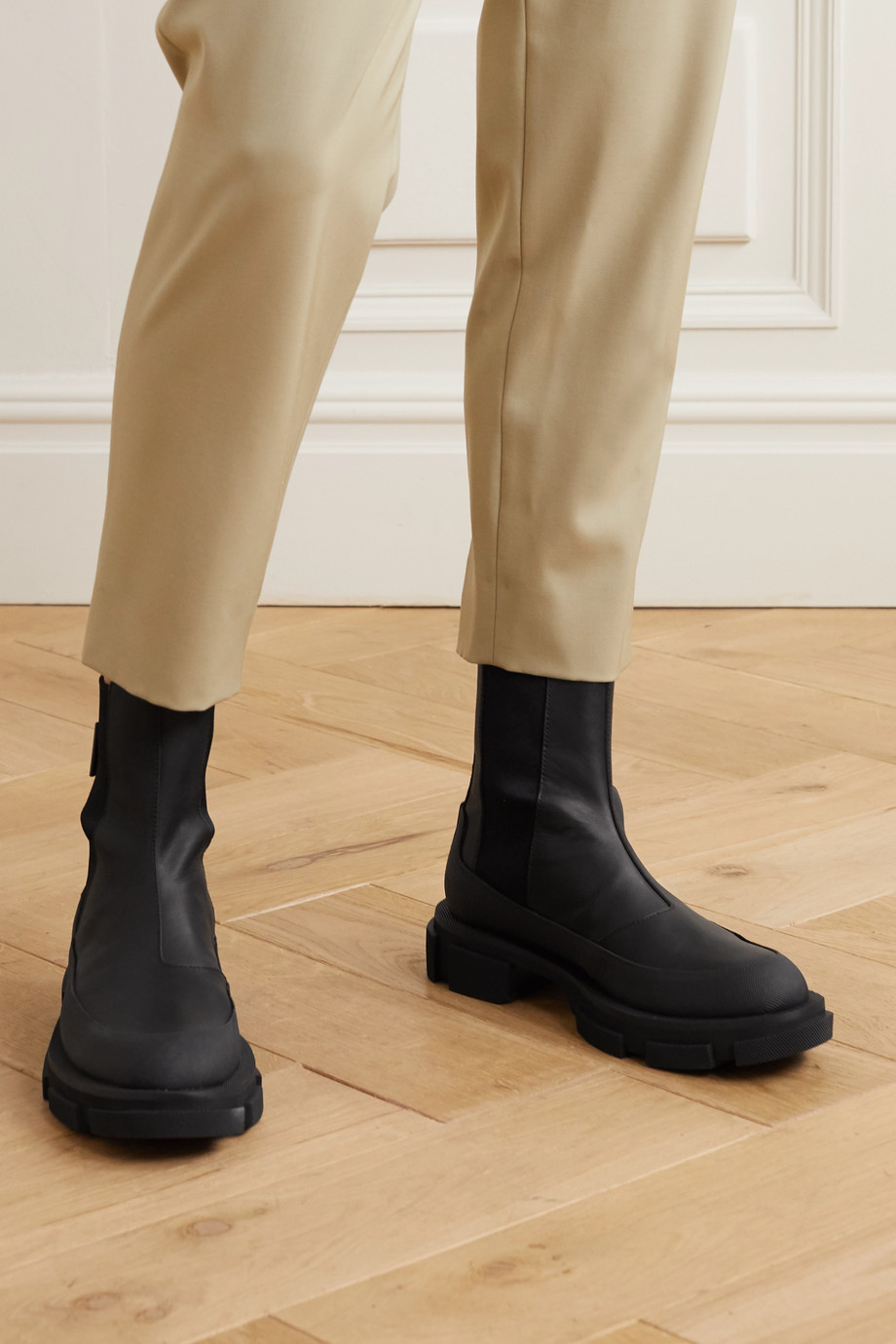 both Gao rubber-trimmed leather platform Chelsea boots
