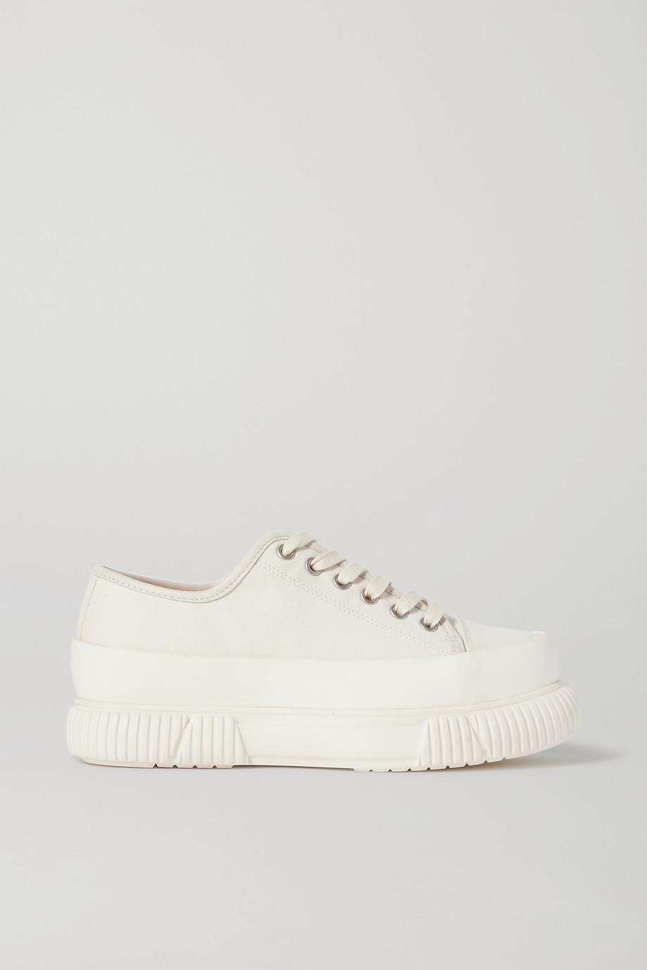 both Canvas platform sneakers