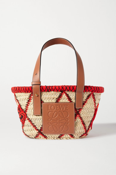 Small Embroidered Leather Trimmed Woven Raffia Tote by Loewe
