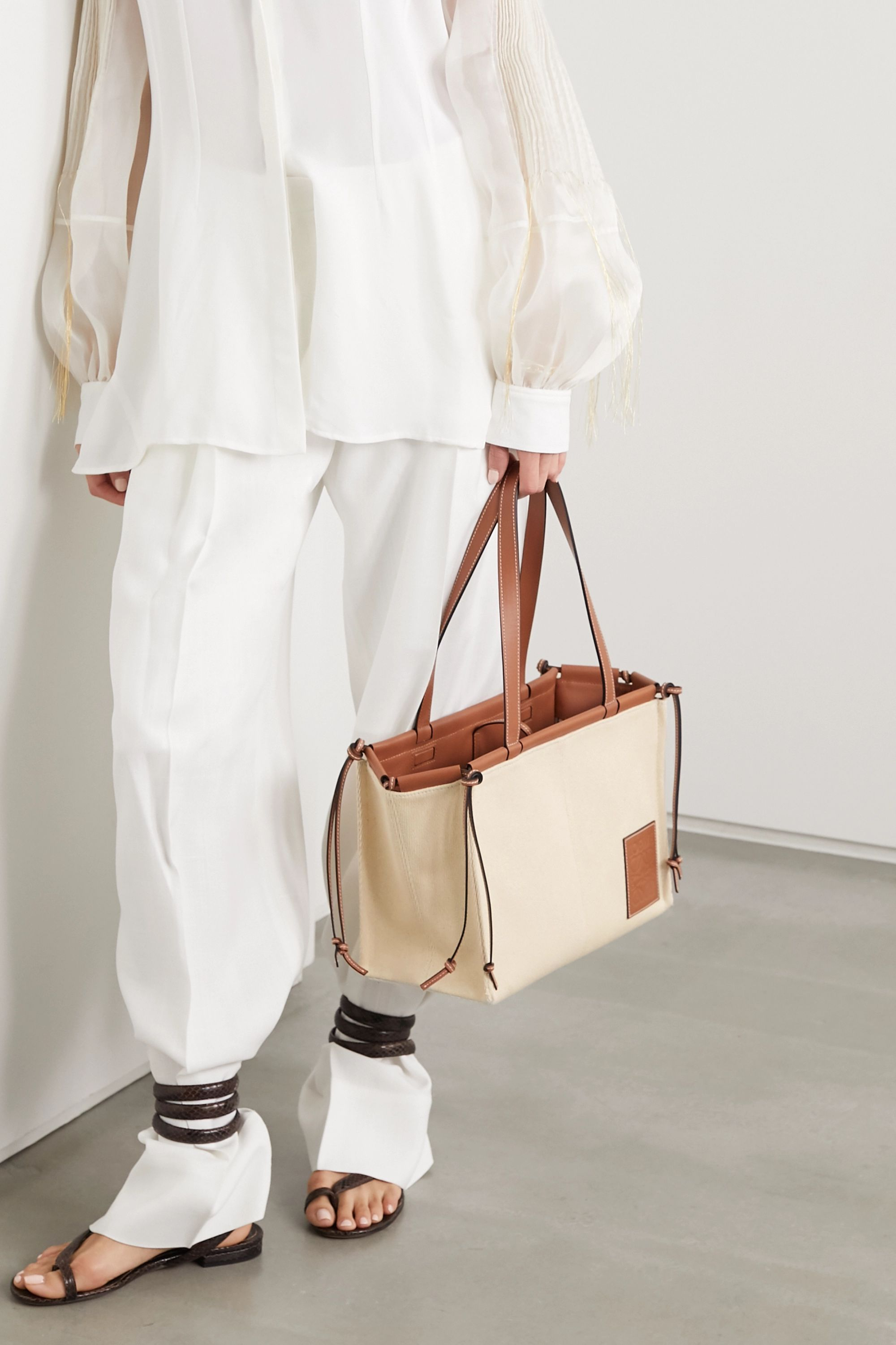 Loewe Cushion small leather-trimmed canvas tote