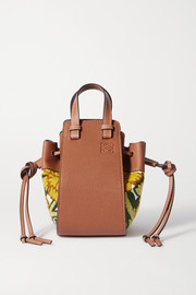 Loewe Hammock mini embroidered linen and textured-leather shoulder bag