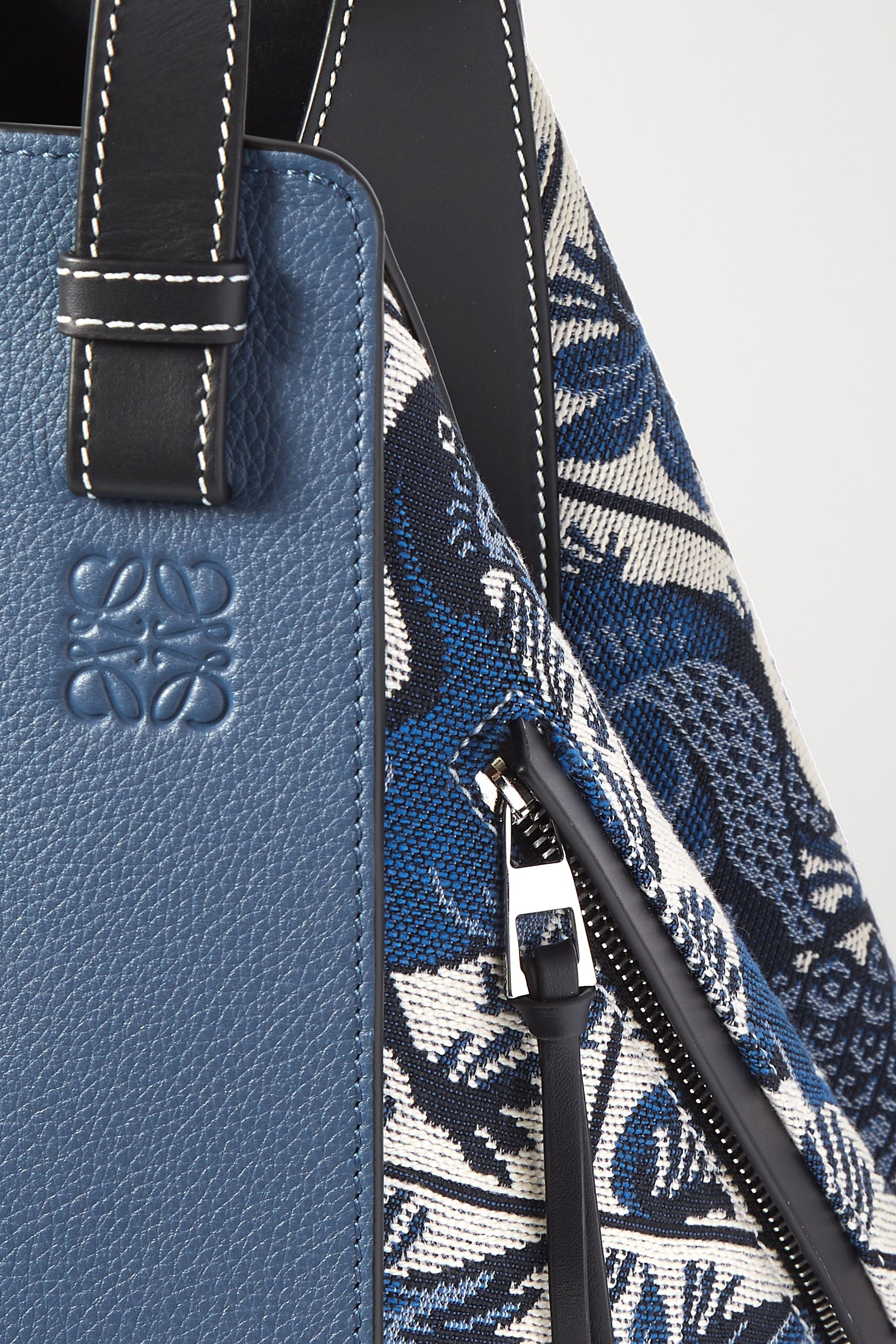 Loewe Hammock small leather and canvas-jacquard shoulder bag