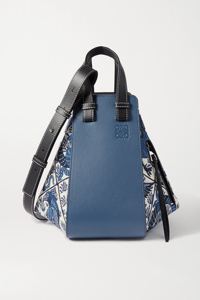 Hammock Small Leather And Canvas Jacquard Shoulder Bag by Loewe