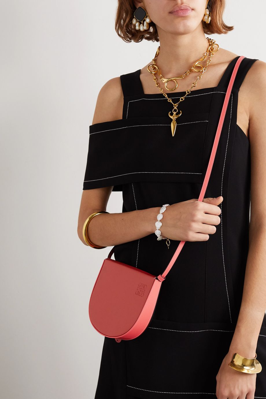 Loewe Heel two-tone leather shoulder bag