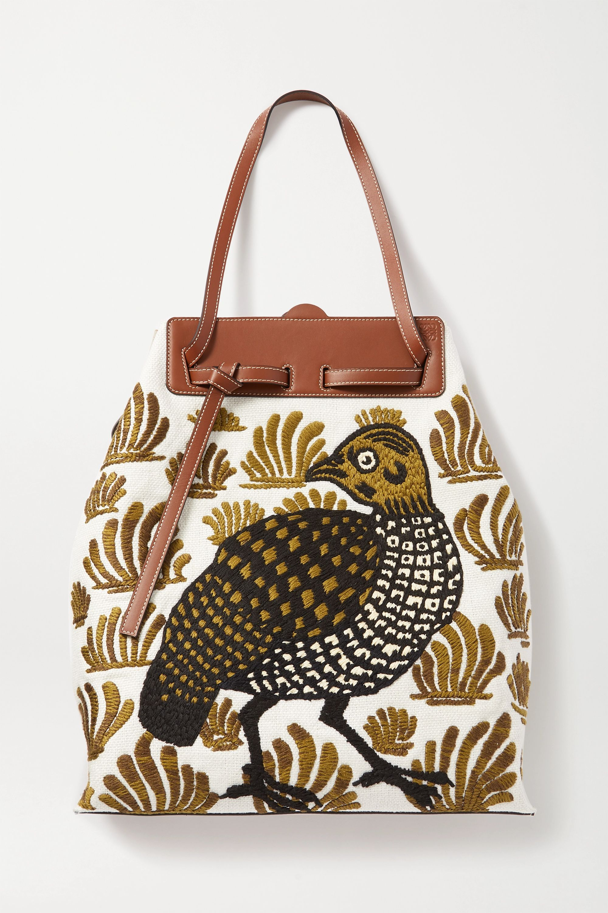 Loewe Lazo leather-trimmed embroidered linen-canvas tote