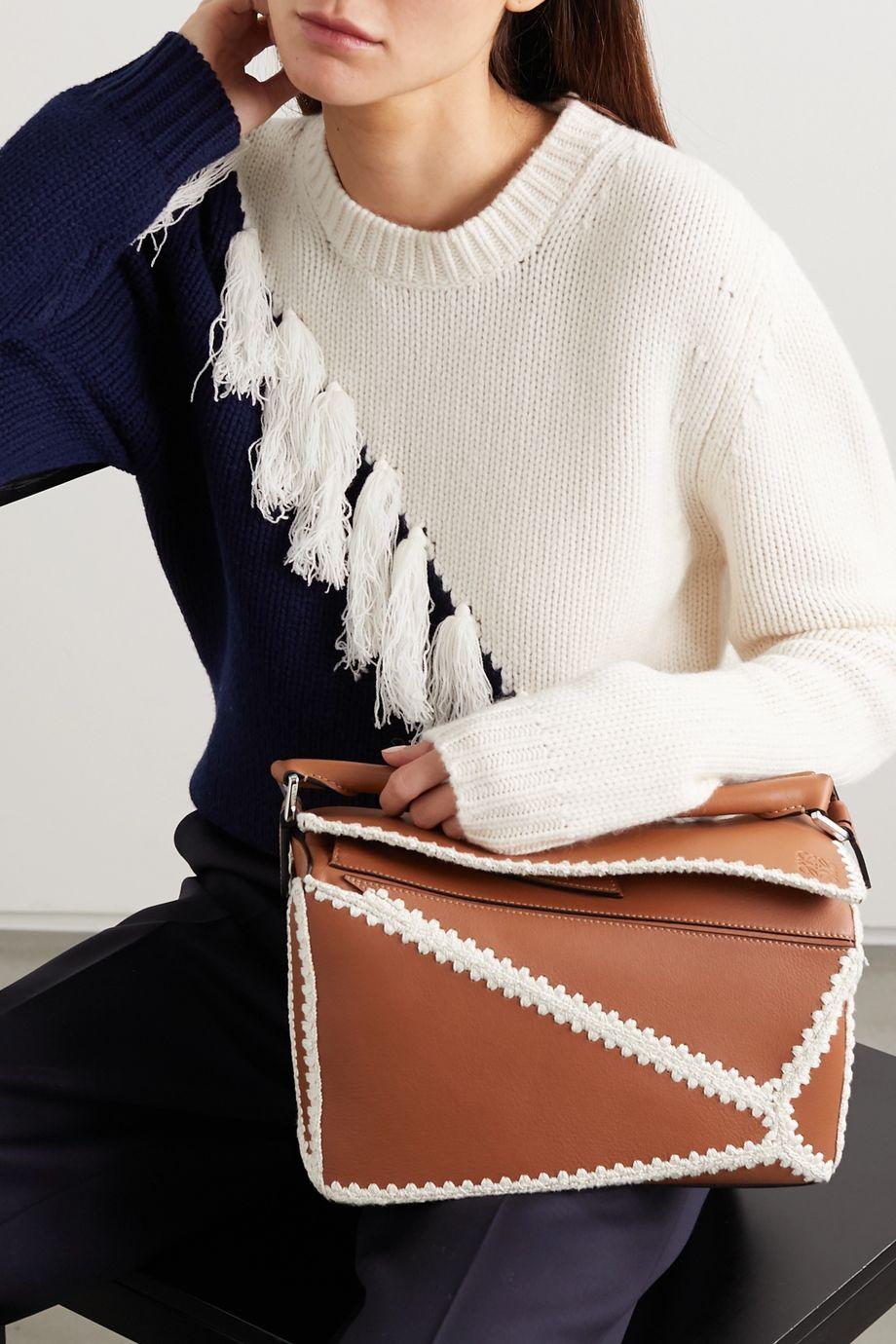 Loewe Puzzle medium crochet-trimmed leather shoulder bag