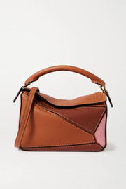 Loewe Puzzle mini color-block textured-leather shoulder bag