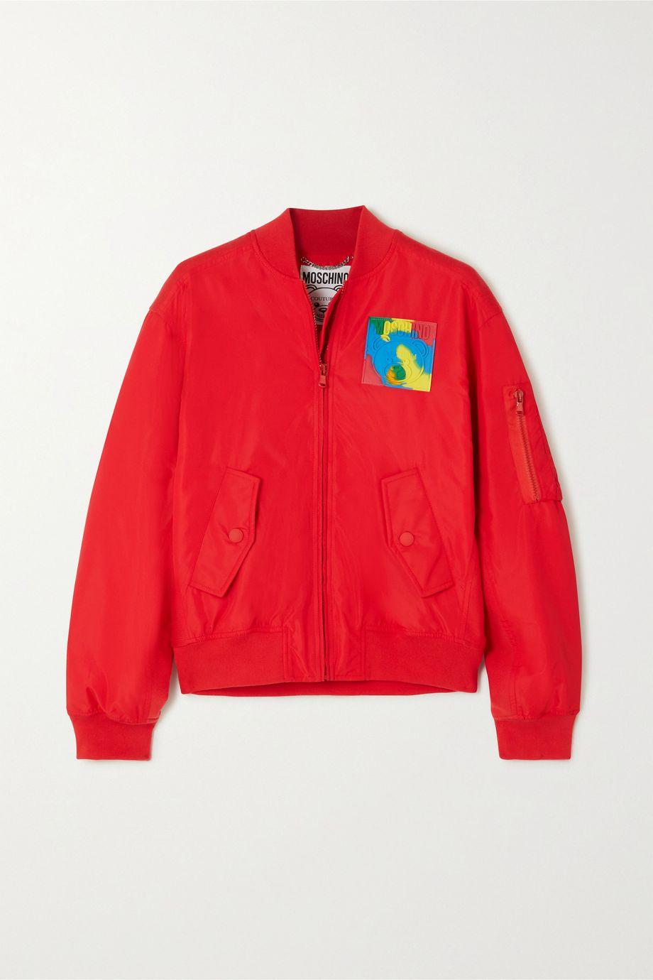 Moschino Appliquéd shell bomber jacket