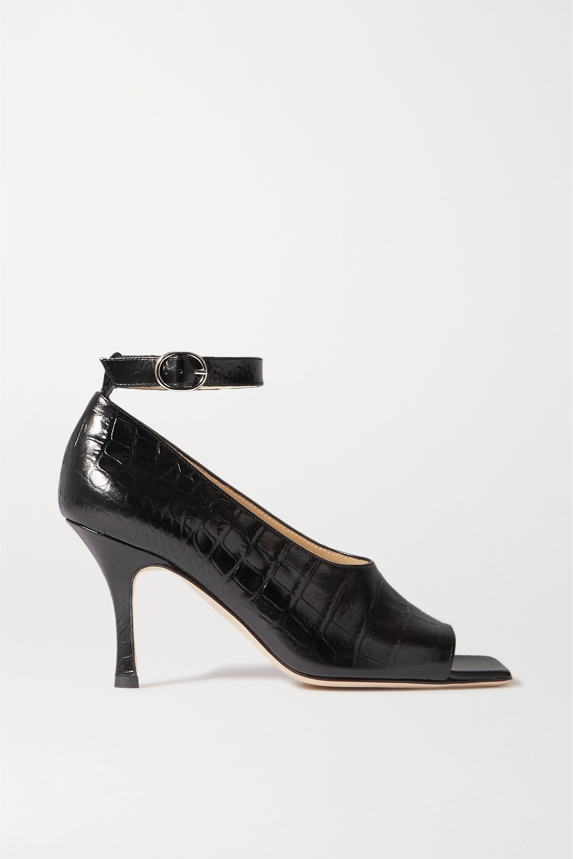 A.W.A.K.E. MODE Erica glossed croc-effect leather pumps