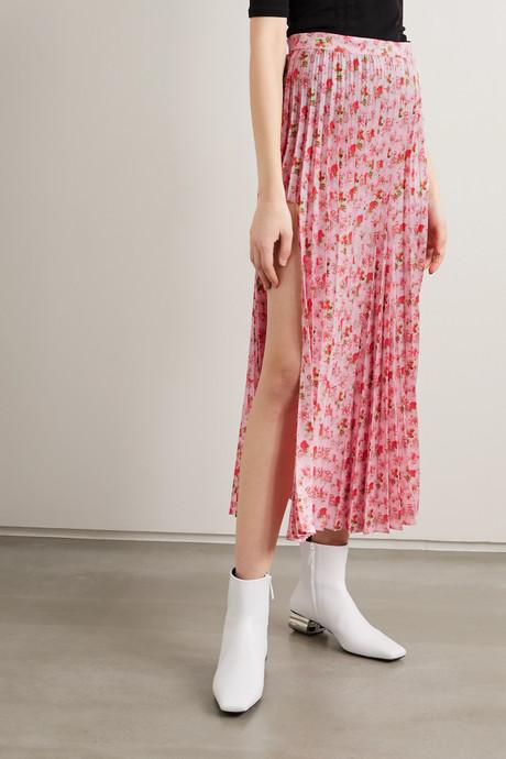 Floral-print plissé-crepe midi skirt