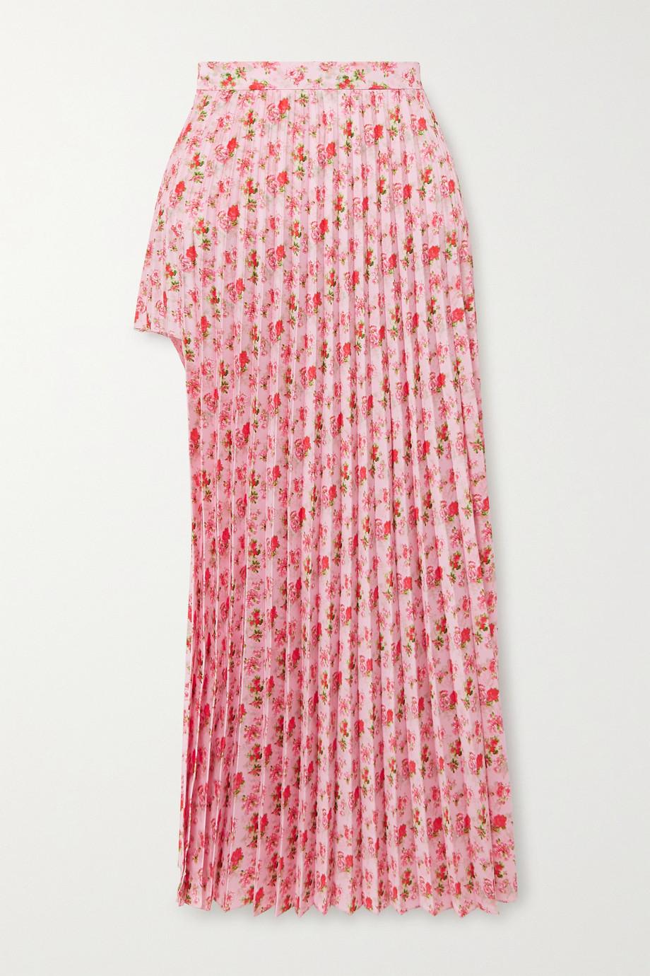 Vetements Floral-print plissé-crepe midi skirt